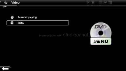 Menú de reproducción de DVDs