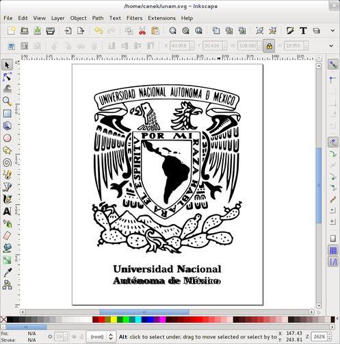 Documento en Inkscape con texto centrado