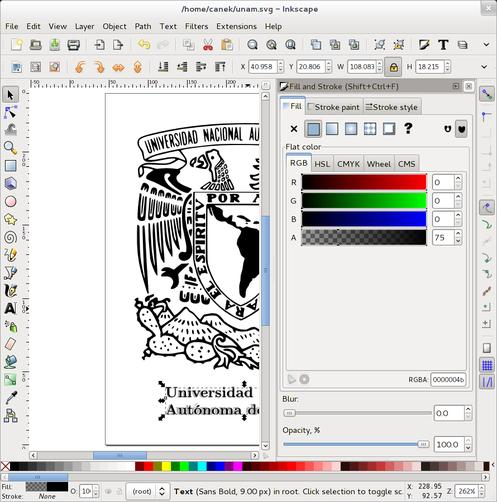 Documento en Inkscape con texto invisible