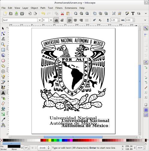 Documento en Inkscape con texto