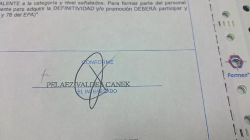 La firma en el papelito